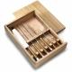 Kuchynská súprava nožov a vidličky v drevenej bambusovej  krabičke