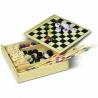 Súprava piatich stolných hier v drevenej krabici