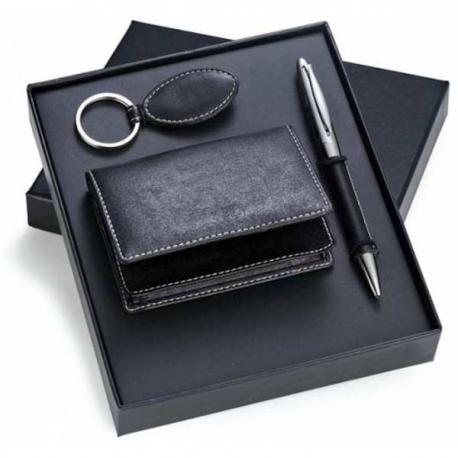 Kožená darčeková sada vizitkár, pero, kľúčenka