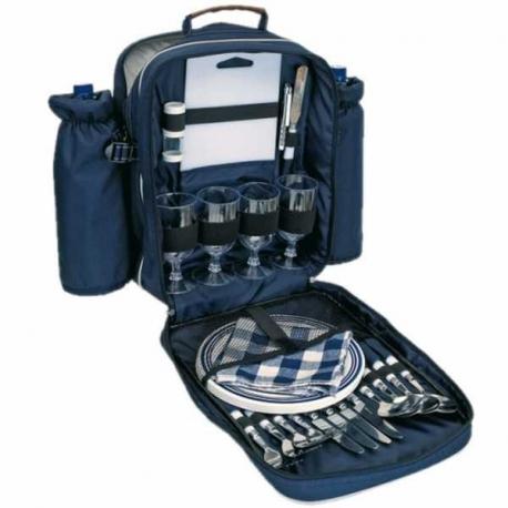 Modrý piknikový batoh pre štyri osoby