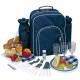 Modrý piknikový batoh pre štyri osoby ukážka príslušenstva batohu