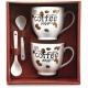 Súprava hrnčekov a lyžičiek na kávu v darčekovom balení