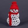 Hačkovaný snehuliak - vianočná ozdoba na stromček