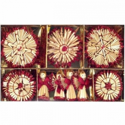 Slamené vianočné ozdoby červené 26 kusov