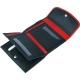 Otvorená dámska kožená peňaženka čierna, červená