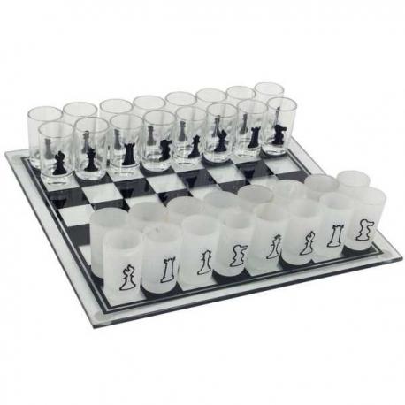 Veľký sklenený alkoholický šach 35 x 35 cm