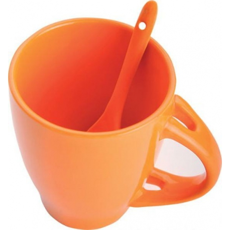 Oranžový hrnček s lyžičkou v ušku