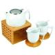 Luxusná čajová súprava s bambusovým zohrievacím podstavcom