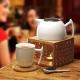 Luxusná čajová súprava s bambusovým ohrievacím podstavcom