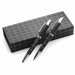 Kovové pero a roller v čiernej darčekovej krabičke s pásikmi