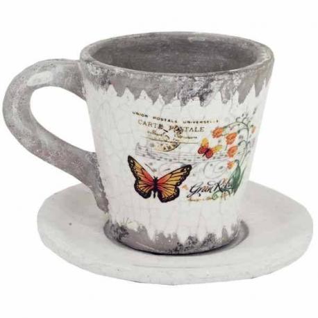 BUTTERFLY keramický kvetináč s motýlikom