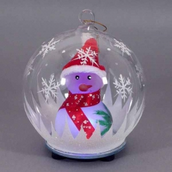 Svietiaca vianočná guľa - snehuliačik