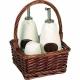 Značková súprava soľničky, koreničky a nádob na olej a ocot v prútenom košíku