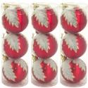 Červené nerozbitné vianočné gule so vzorom 9 kusov
