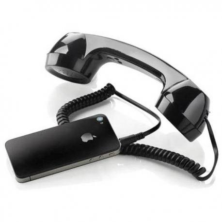Retro slúchadlo pre mobilný telefón čierny