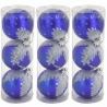 Modré nerozbitné vianočné gule so vzorom 9 kusov