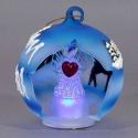 Modrá svietiaca vianočná guľa s anjelikom