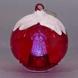 Červená svietiacia vianočná guľa s anjelikom