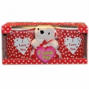 Valentínske hrnčeky s mackom - darčekové balenie