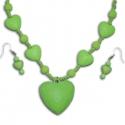 Zelený náhrdelník s náušnicami srdiečka