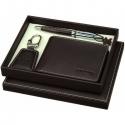 Hnedá luxusná súprava Balmain - pero, peňaženka, prívesok
