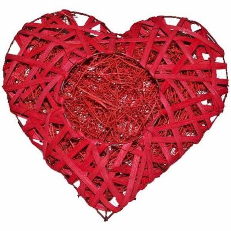 Červené dekoračné srdce ratanové