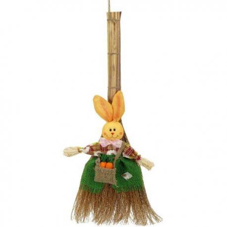 Zajačik na metle - veľkonočná dekorácia k dverám