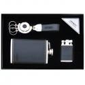 Značková darčeková kazeta ploskačka, zapaľovač, prívesok