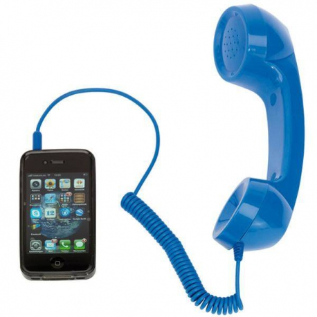 Retro slúchadlo na telefonovanie modrá farba