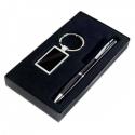 Čierna darčeková sada pero s príveskom na kľúče