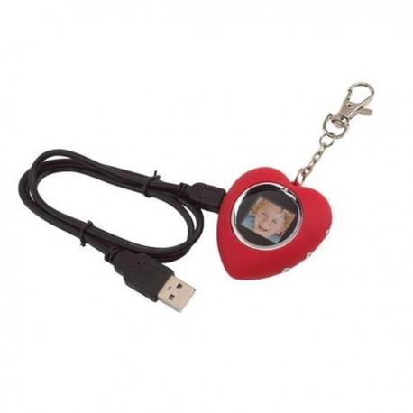 LCD foto prívesok na kľúče v tvare srdca