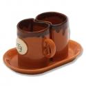 Keramické hrnčeky na kávu hnedé