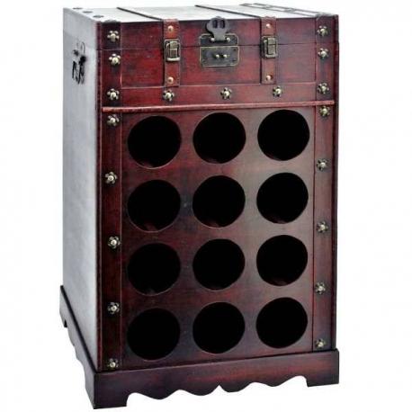 Retro drevená komoda na vína s uzátvarateľnou hornou časťou