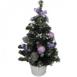 Malý zdobený vianočný stromček - fialový