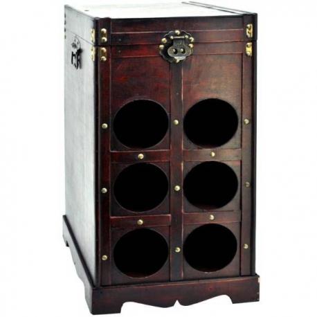 Drevená truhlica so stojanom na šesť vín