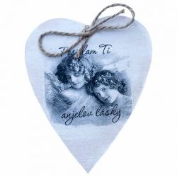 Drevené srdce - Posielam Ti anjelov lásky s magnetkou