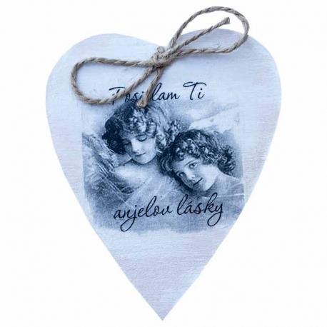 Drevené srdiečko - Posielam Ti anjelov lásky