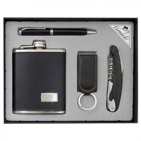 Darčeková sada pre mužov - ploskačka,  kľúčenka, nožík, pero
