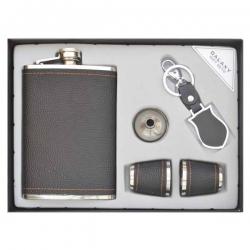 Darčeková kazeta pre mužov - butylka, nálevka, poháriky, prívesok