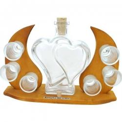 Luxusná darčeková súprava - fľaša srdcia, šesť pohárov