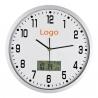 Veľké strieborné kuchynské hodiny s digitálnym dátumom a teplomerom