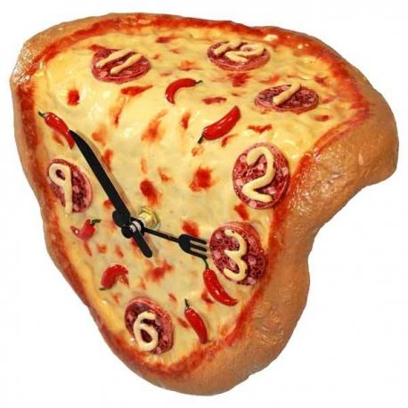 Keramické hodiny pizza