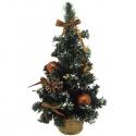 Malý zdobený vianočný stromček medený