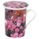 Kvetinový hrnček na čaj s vrchnákom