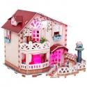 Dievčenské 3D puzzle víkendový dom s LED osvetlením