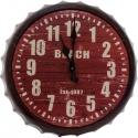Kovové hodiny na stenu tvar vrchnáka na fľašu