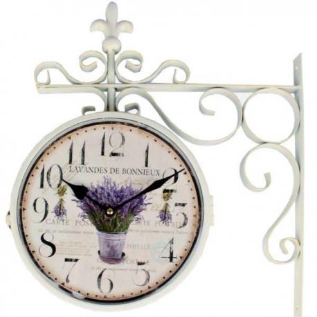 Biele obojstranné hodiny na stenu LAVANDES