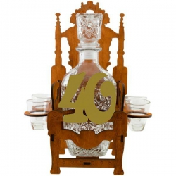 Darček k štyridsiatim narodeninám - trón s fľašou a pohárikmi