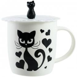 Hrnček mačička so silikónovým vrchnákom