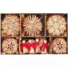 Vianočné slamené dekorácie - červené 26 kusov